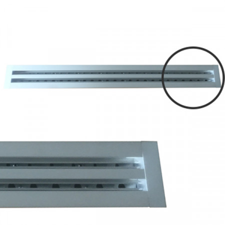 Diffusore Aria Lineare a 1 Feritoia LA611IT/S da 1 m con Deflettori e Serranda a Scorrimento - Alluminio