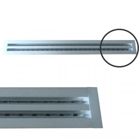 Diffusore Aria Lineare a 2 Feritoie LA612IT/S da 80 cm con Deflettori e Serranda a Scorrimento - Alluminio