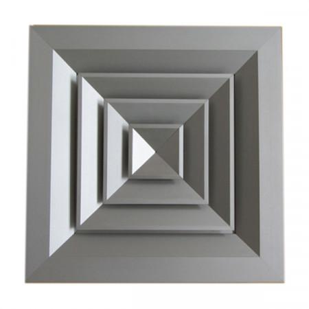 Diffusore Aria Quadrato 4 Direzioni DAU40A 150x150 mm in Alluminio Anodizzato