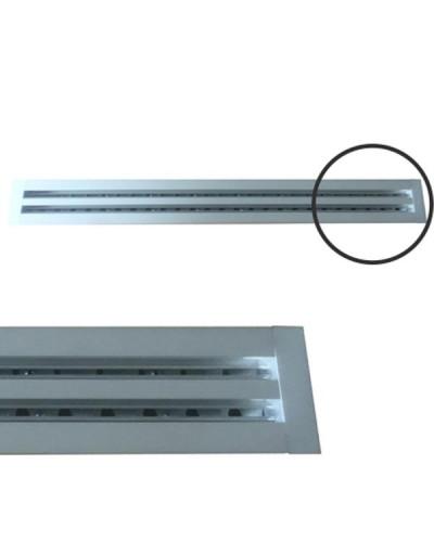Diffusore Aria Lineare a 1 Feritoia LA611IT/S da 80 cm con Deflettori e Serranda a Scorrimento - Alluminio