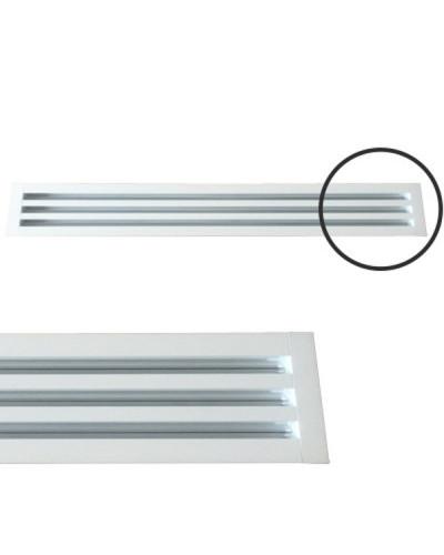 Diffusore Aria Lineare a 3 Feritoie LA613IT/S da 80 cm con Deflettori e Serranda a Scorrimento - RAL 9016