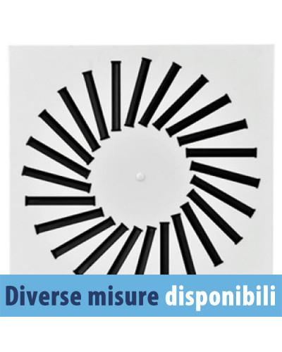 Diffusore Aria Frontale Quadrato in Metallo DFWM-F 300 296x296 mm 8 Feritoie - RAL 9016
