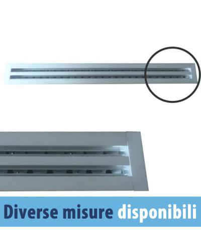 Diffusore Aria Lineare a 3 Feritoie LA613IT/S da 80 cm con Deflettori e Serranda a Scorrimento - Alluminio