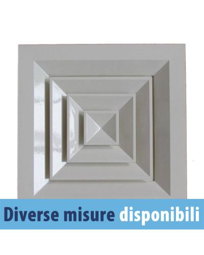 Diffusore Aria Quadrato da Soffitto DAU40B 150x150 mm a 4 Direzioni - Ral 9003