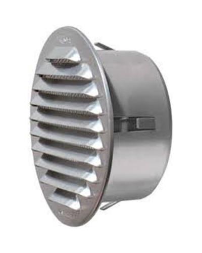 Griglia di aerazione in metallo GTCA Ø 80 mm con anello in alluminio frontale - finitura Argento